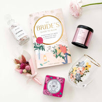 wedding and bridal gifts contain spa and beauty products and the bride's guide to glow book.