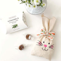 adorable easter bunny pouch filled with McCrea's Rosemary Truffle Sea Salt Caramels Candies.