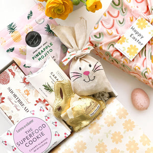 kadoo easter bunny gift box. celebrate spring and easter with these sweet and salty collection featuring lindt bunny chocolate.