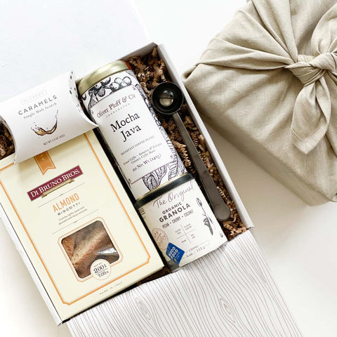 father's day coffee gifts with Mocha Java coffee, Italian almond biscotti, organic granola and more