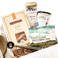 Father's Day Coffee Gift set. Inside the box: Mocha Java coffee, Almond Biscotti, Granola, Coffee Scoop.