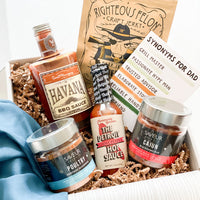 BBQ barbecue gift set for Father's day with BBQ sauce, seasoning rub, truffle jerky, hot sauce and more