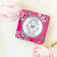 la chatelaine cherry almond triple milled travel soap. Perfect for bridal gifts.