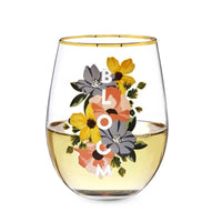 twine bloom wine glass with gold rim. perfect gifts for wedding and new couple.