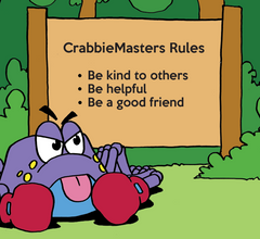 Get-Along Crabbie is front of camping sign with CrabbieMasters Rules: Be kind to others; Be helpful; Be a good friend.