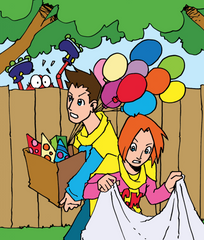 CrabbieMaster parents in backyard rushing around with balloons and gifts and a tablecloth all frazzled trying to get ready for a birthday party while Hurry-Up peaks over the fence.