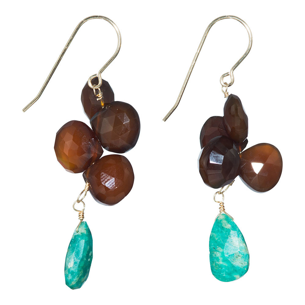 Brown And Green Earrings With Chalcedony &Amp;...