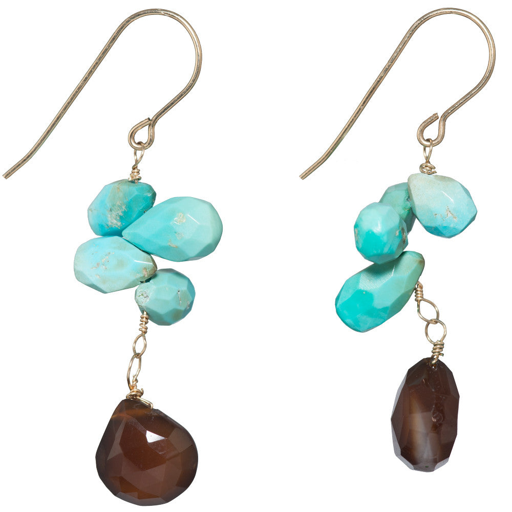 Brown Chalcedony And Turquoise Earrings On 14 K...