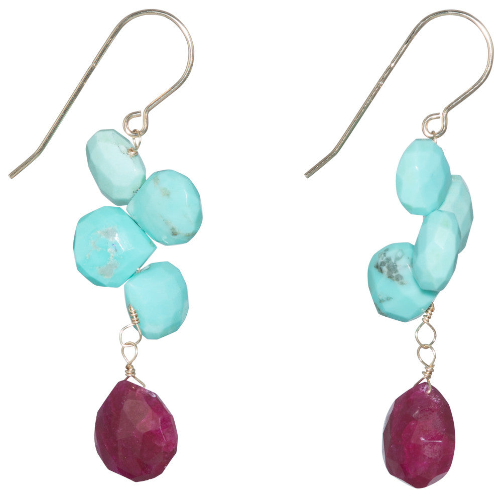 Ruby Pink &Amp; Turquoise Dangle Earring On 14...