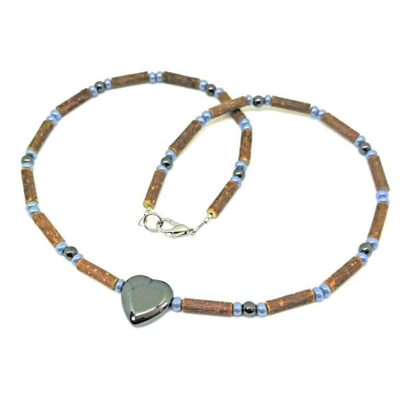 A27 | Hazel wood, two-tone grey beads & heart