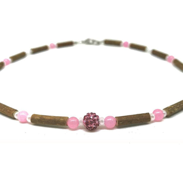 E01 | Hazel wood, rose quartz & shamballa