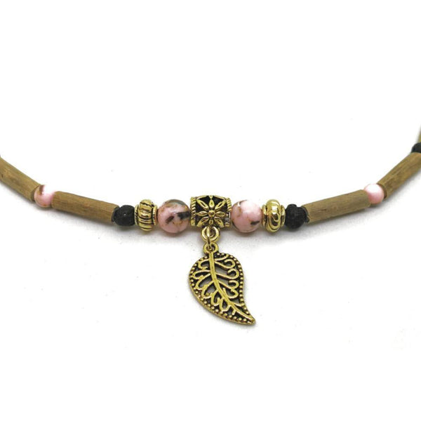 E73 | Hazel wood, pink shell beads & golden leaf diffuser