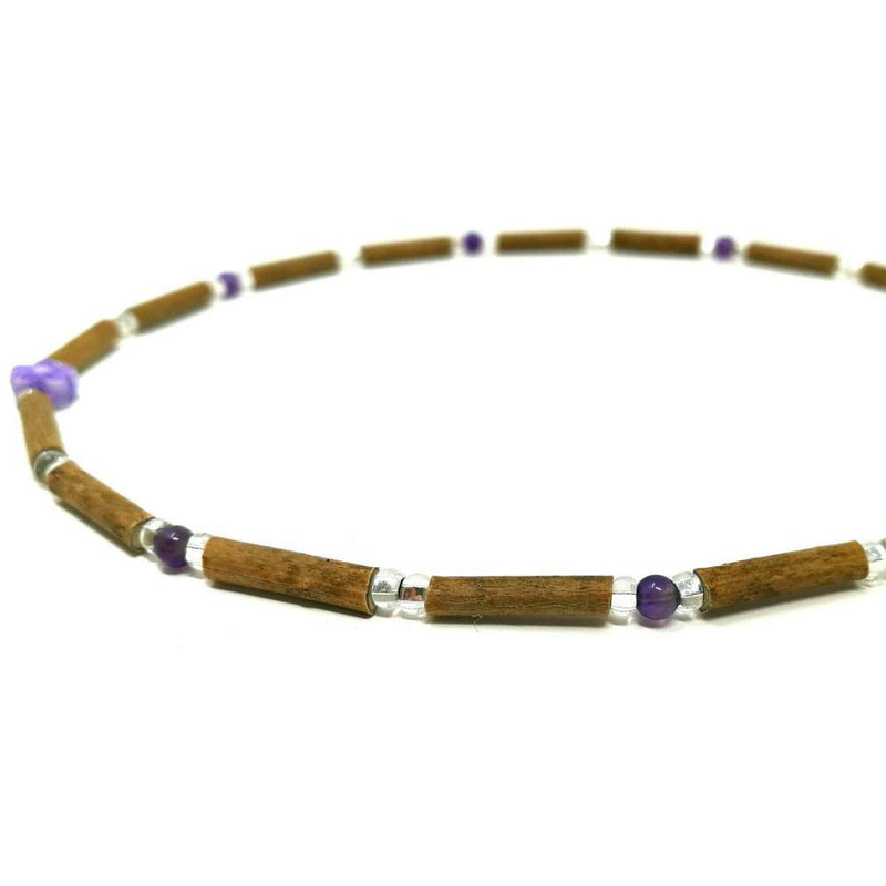 B03 | Hazel wood, amethyst & purple flower