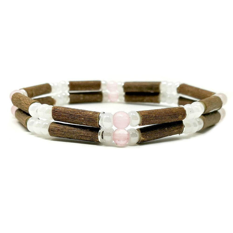 D02 | Quartz rose | Bracelet de noisetier double