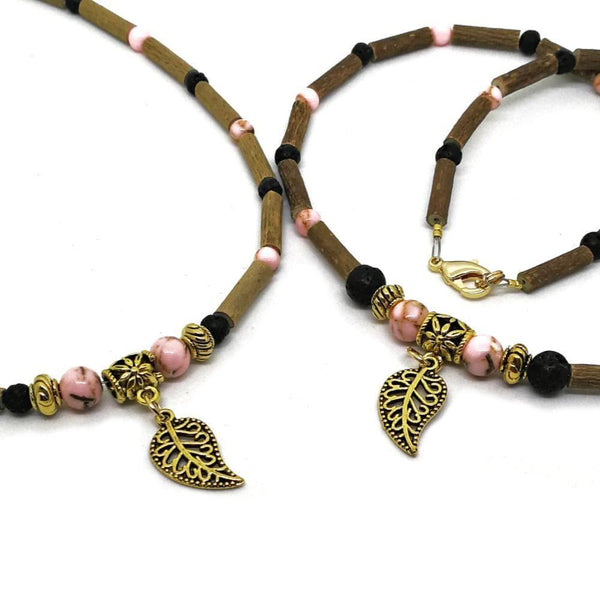 M73 | Hazel wood, pink shell beads & golden leaf diffuser set