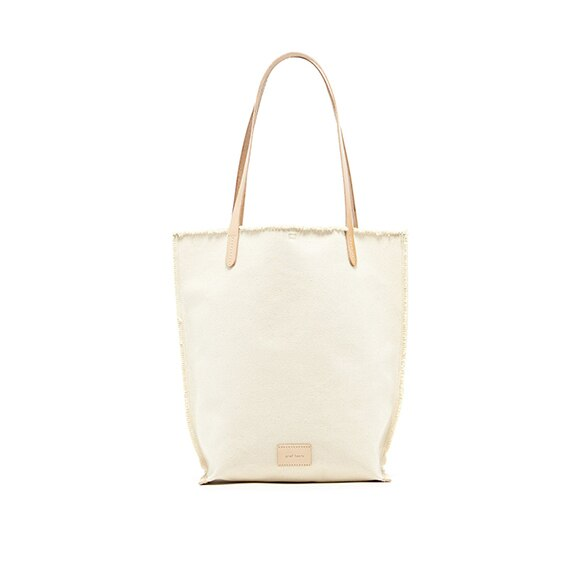 Graf Lantz Hana Tote, Natural Canvas with Natural Leather