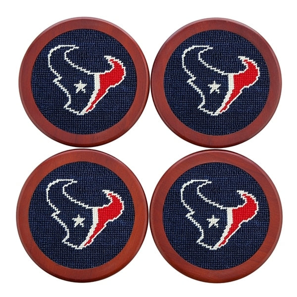 Smathers & Branson Houston Texans Needlepoint Coaster Set