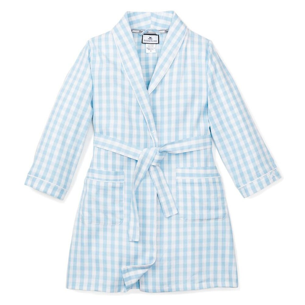 Petite Plume Robe, Light Blue Gingham
