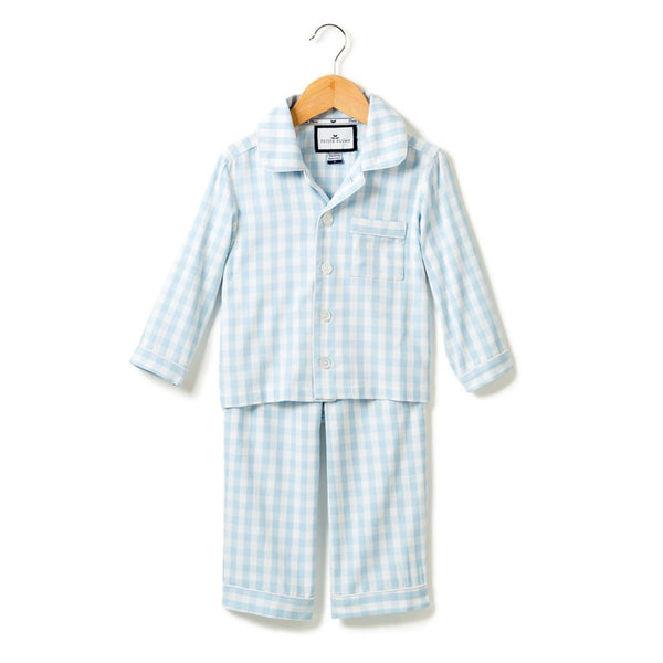 Petite Plume Pajama Set, Light Blue Gingham