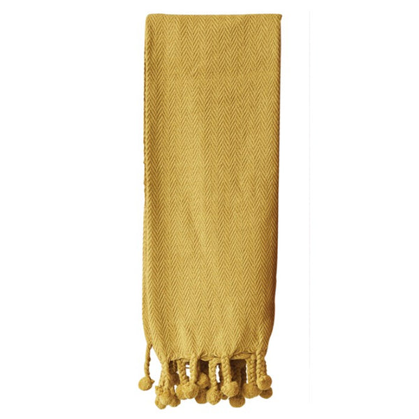 Cotton Throw w/ Pom Pom Gold