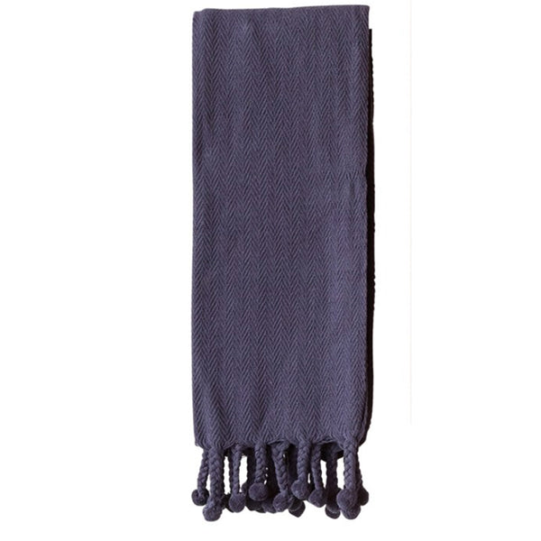 Cotton Throw w/ Pom Pom Navy