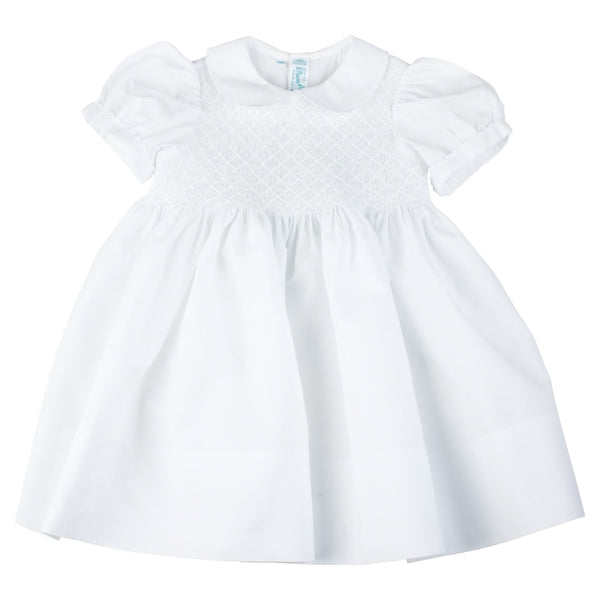Feltman Brothers Diamond Smocked Dress in White