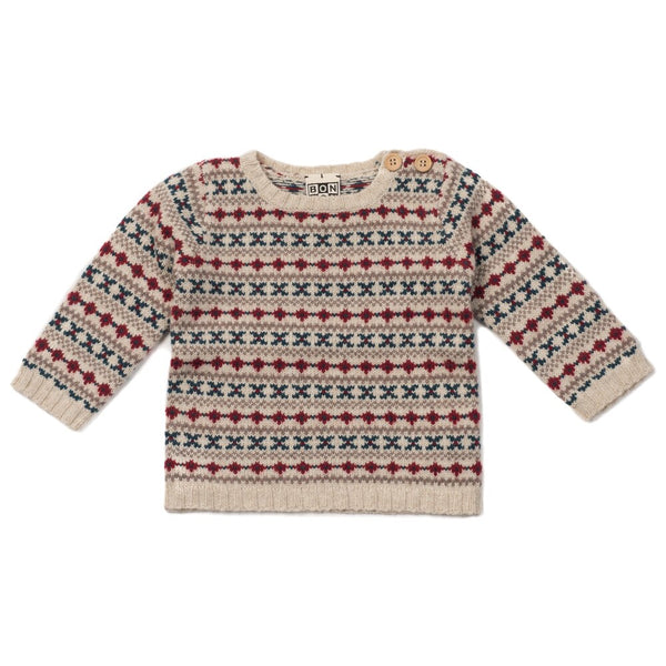 Bonton Baby Jacquard Sweater, Off White