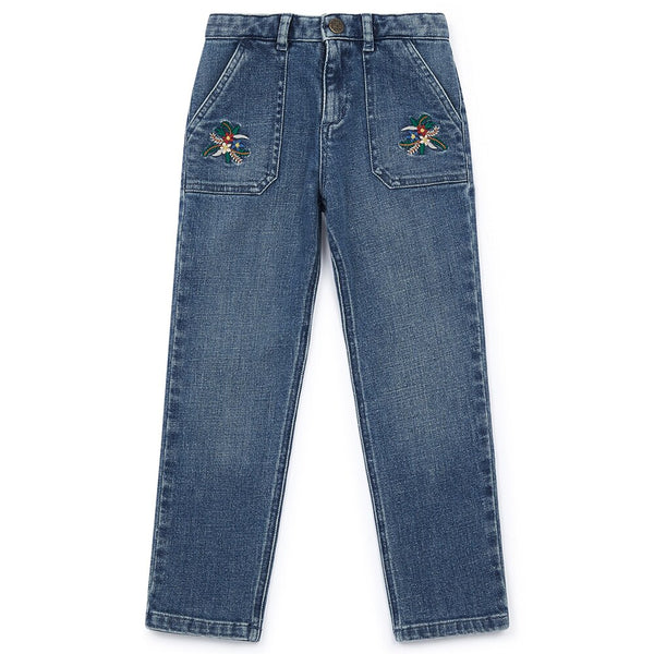 Bonton Jeans with Flower Embroidery