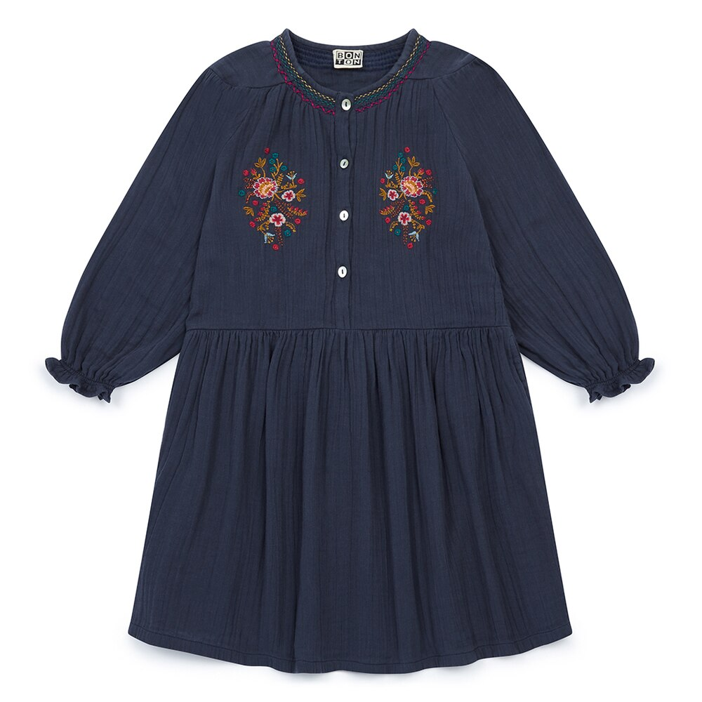 Bonton Flower Dress with Embroidery