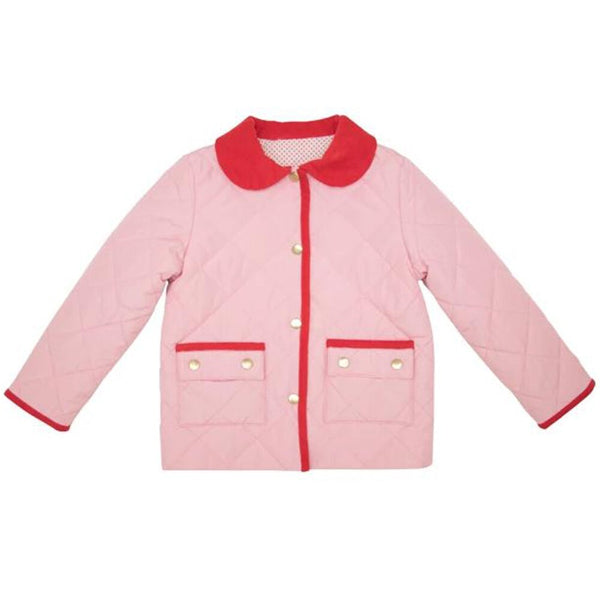 The Beaufort Bonnet Kendall Quilted Coat Plantation Pink with Richmond Red Corduroy