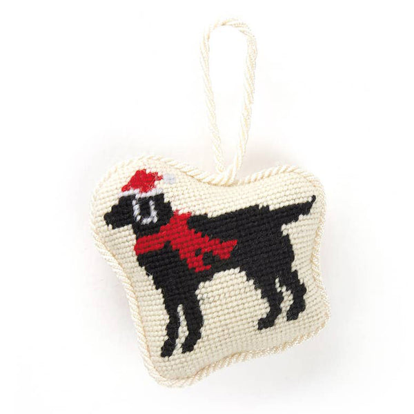 Christmas Black Labrador Needlepoint Ornament