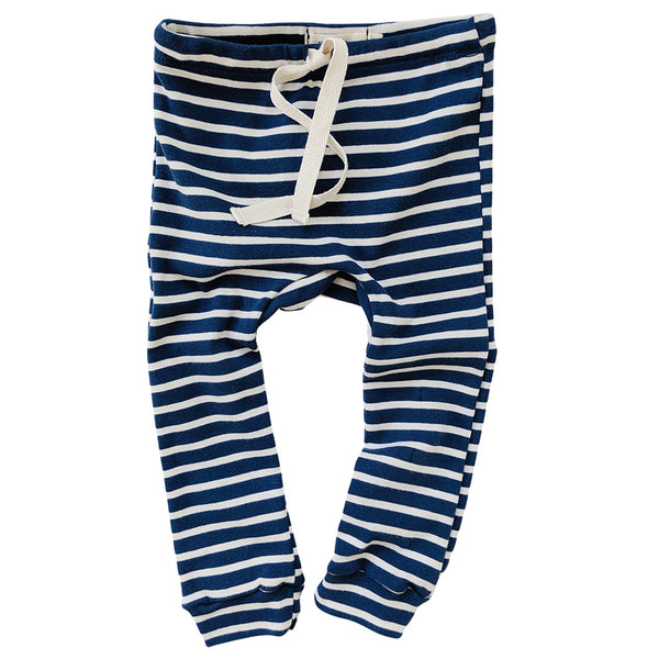 Organic Cotton Leggings - Blue/Natural