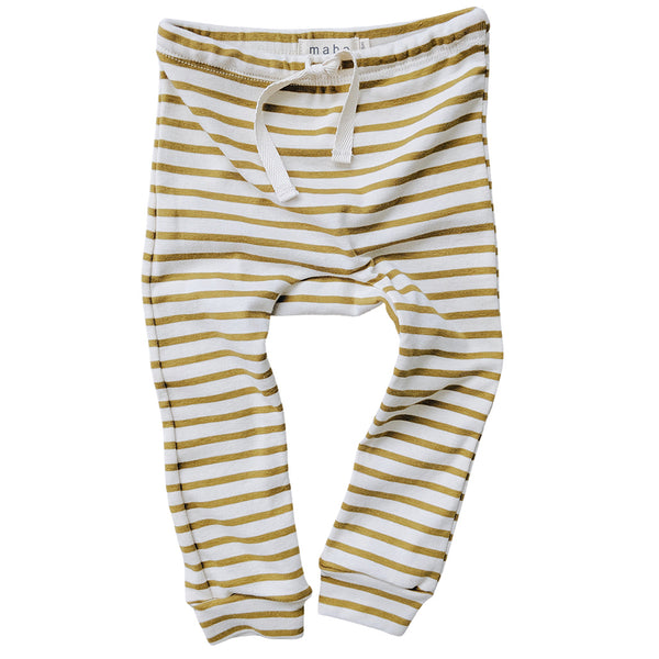 Organic Cotton Leggings - Natural/Chartreuse