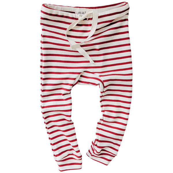 Organic Cotton Leggings - Natural/Scarlet