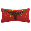 Longhorn with Christmas Lights Hook Pillow