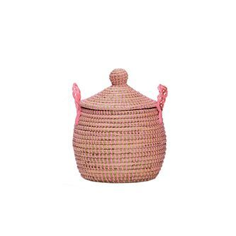 Olli Ella Pink Lidded Neutra Basket, Mini