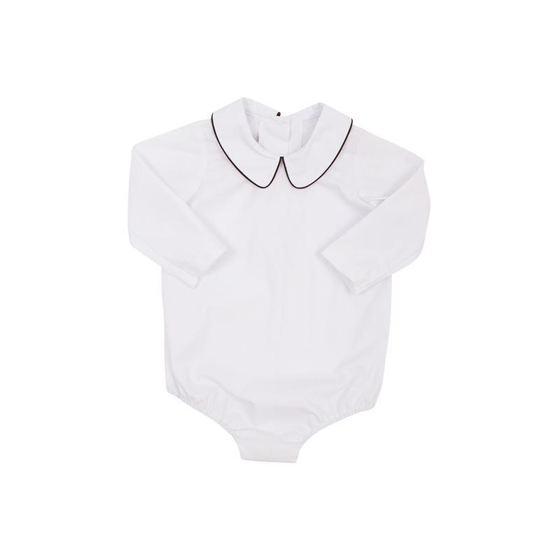 The Beaufort Bonnet Peter Pan Collar Shirt, White Long Sleeve with Chelsea Chocolate Trim