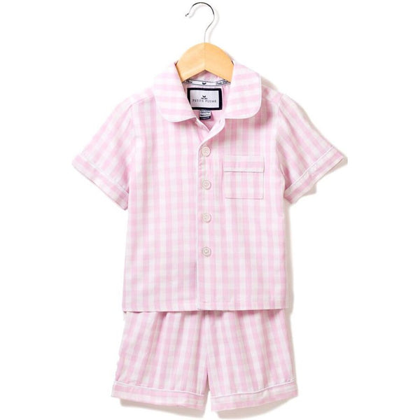 Petite Plume Short Set, Pink Gingham