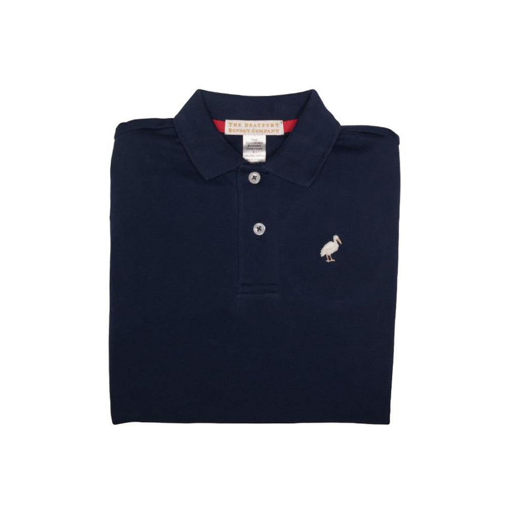 The Beaufort Bonnet Prim & Proper Polo Nantucket Navy with Multicolor Stork