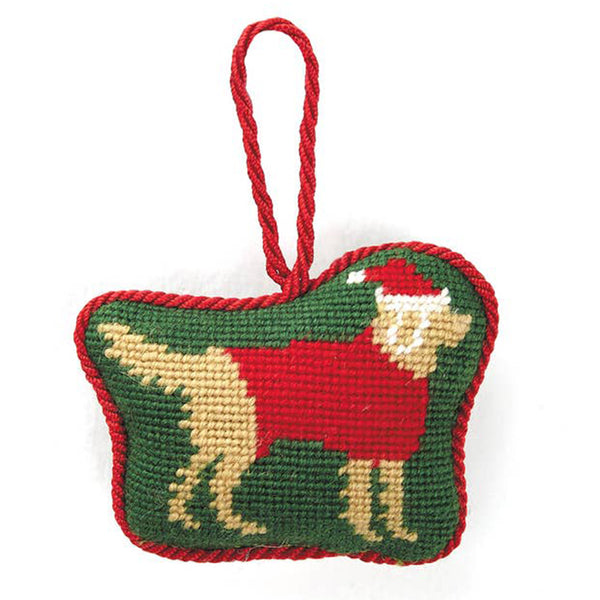 Christmas Golden Retriever Needlepoint Ornament