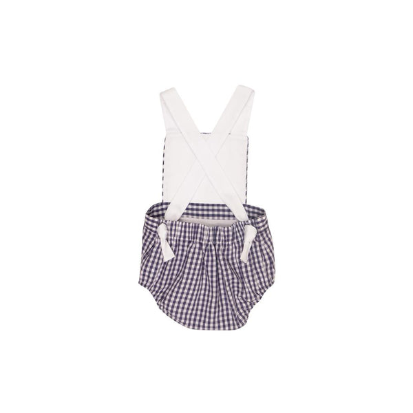 Sayre Sunsuit Worth Avenue White with Nantucket Navy Gingham