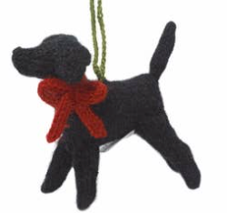 Hand Knit Black Lab Ornament