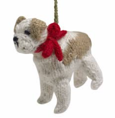 Hand Knit Bulldog Ornament