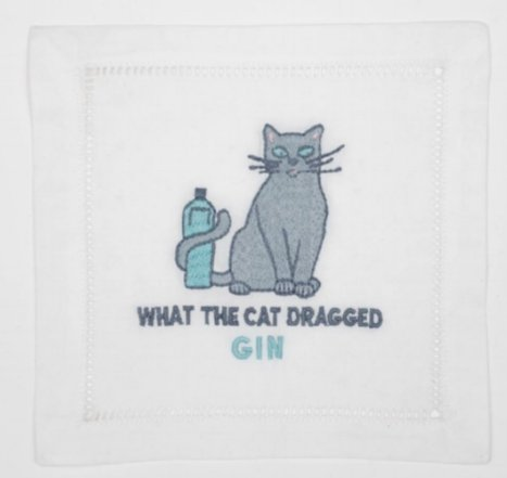 August Morgan What the Cat Dragged Gin Cocktail Napkins