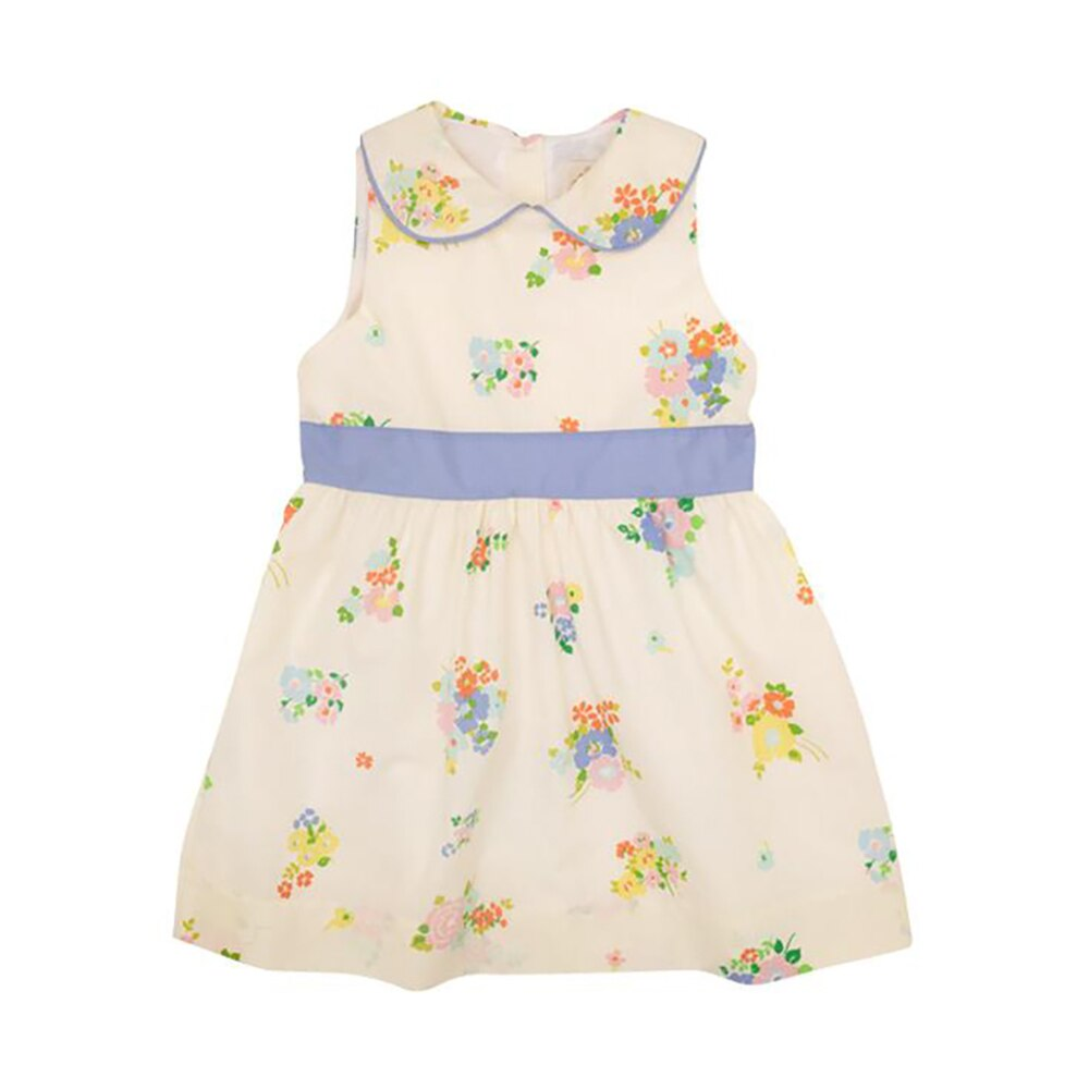 The Beaufort Bonnet Cindy Lou Sash Dress Biltomore Bouquet Fall Blossom with Park City Periwinkle
