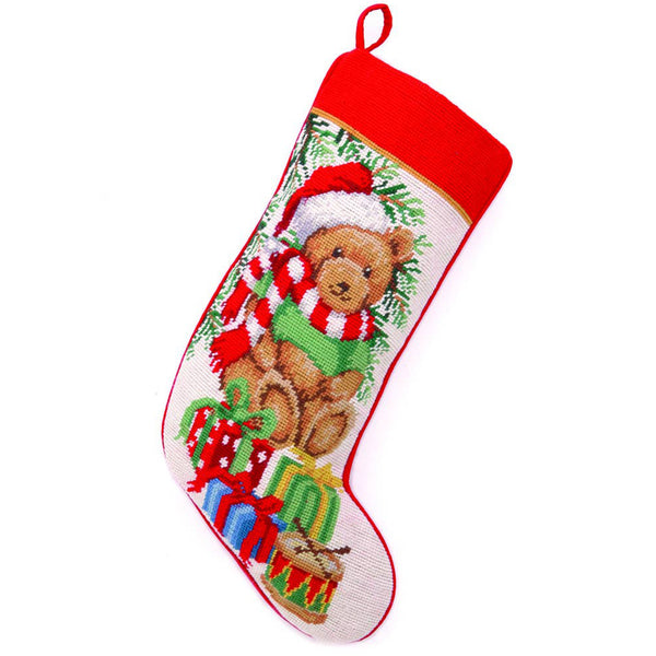 Teddy Bear Needlepoint Stocking