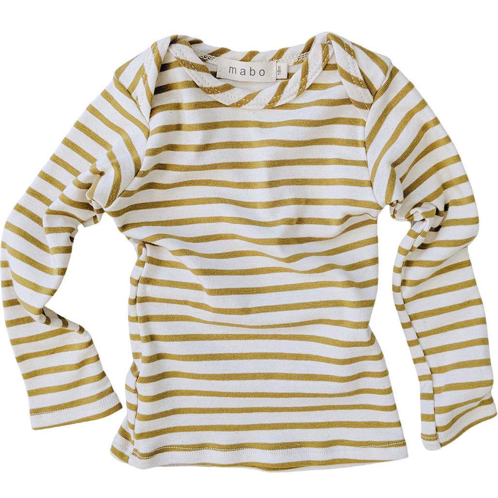 Organic Cotton Striped Tee - Natural/Chartreuse