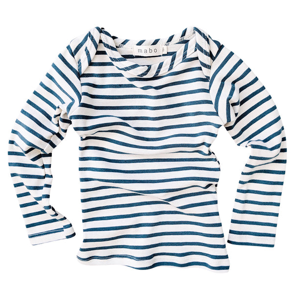 Organic Cotton Striped Tee - Natural/Azure