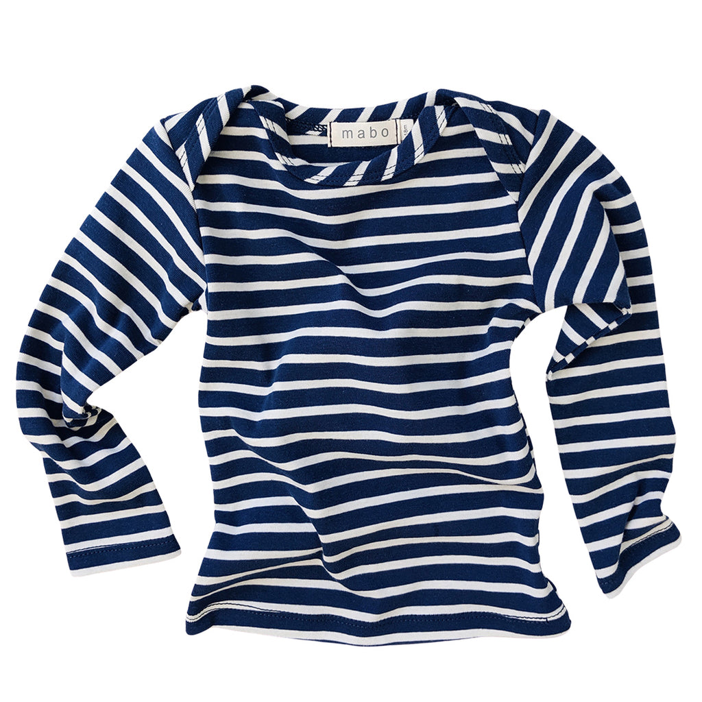 Organic Cotton Striped Tee - Blue/Natural