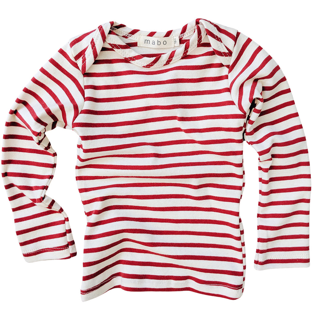 Organic Cotton Striped Tee - Natural/Scarlet